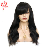 Hesperis Brazilian Remy Full Lace Human Hair Wigs With Bangs Glueless Full Lace Wigs Pre Plucked Body Wave Full Lace Wigs
