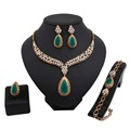 New Fashion Women Gold Plated Red/Green Zircon African beads Jewelry Set Water drop Necklace Crystal Rhinestone jewelry sets