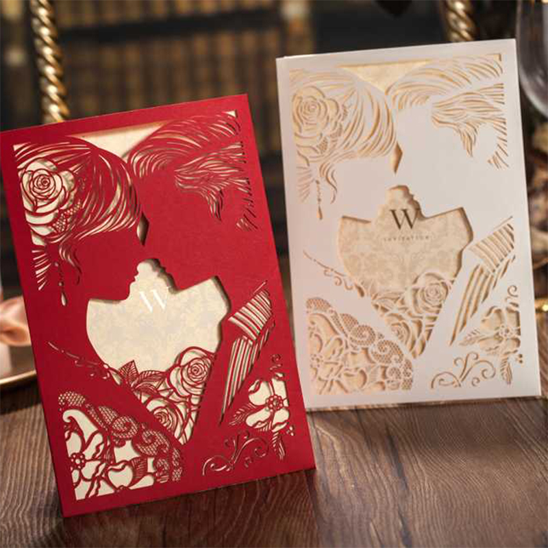 New Design elegant Laser Cut Kiss Wedding invitations Cards For Free Print Greeting Flower Lace Paper Blank Card 12Set design laser cut lace flower bird gold wedding invitations kit paper blank convite casamento printing invitation card invite