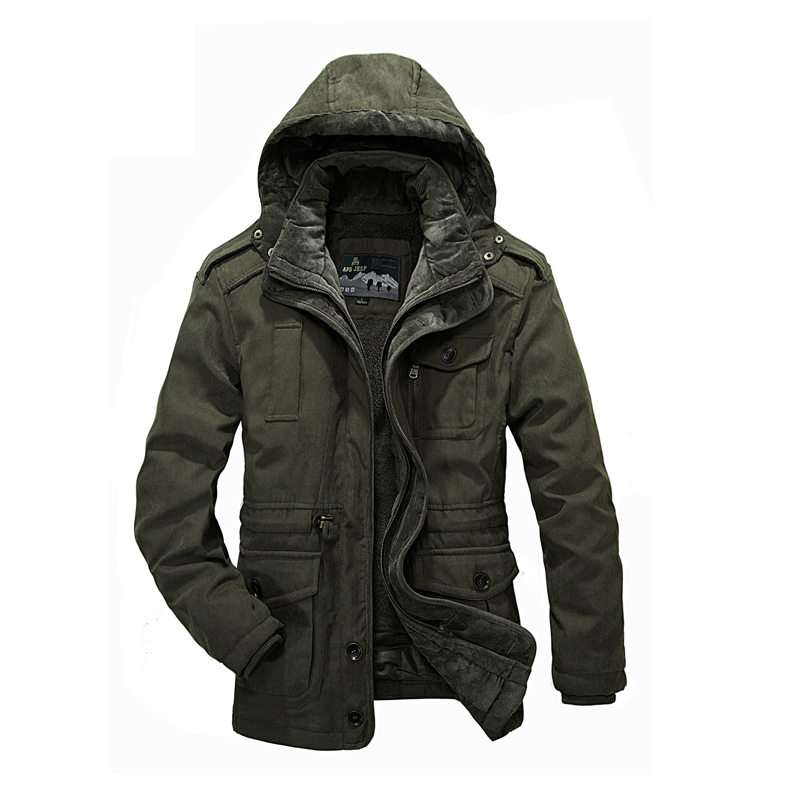 Military parka men thickening warm detachable wool liner Winter jackets mens brand AFS JEEP jacket coat