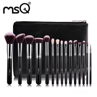 MSQ 15pcs Professional Makeup Brushes Set Make Up Brushes High Quality Synthetic Hair With PU Leather