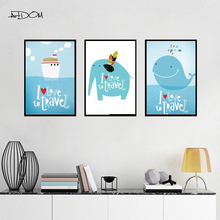 Artdom No Frame Cartoon Travel Quote Blue Whale Elephant Canvas Painting Art Print Poster Wall Pictures For Child Room Home Dec