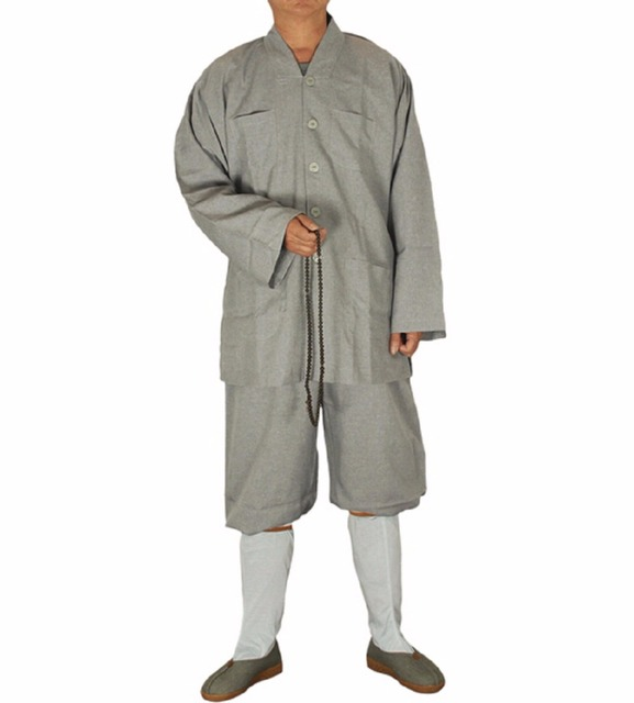 Shagnhai Story Unisex Chinese Short Gowns Suits Vintage Religion Shaolin Temple Zen Buddhist Monk Robe With Pants Kung Fu Suit