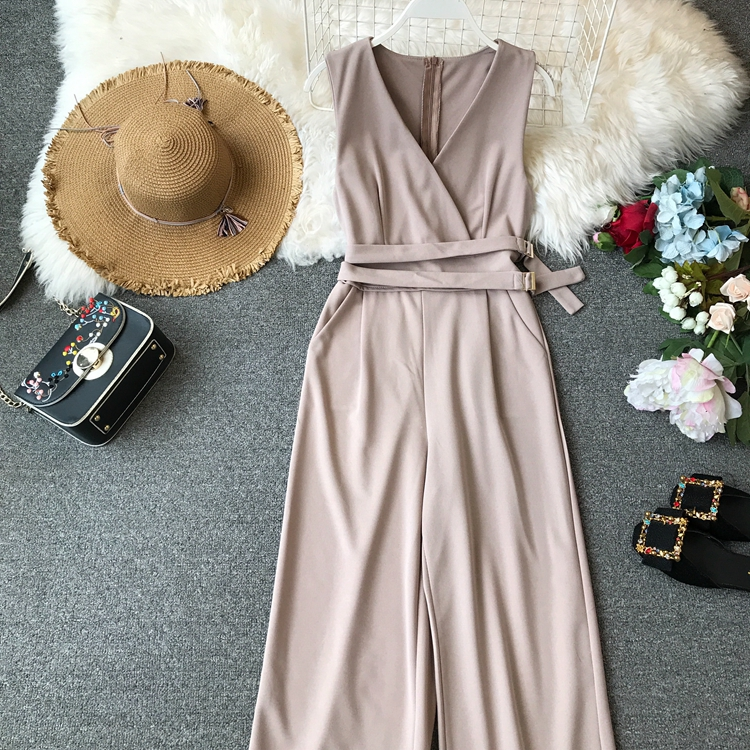 ALPHALMODA 2019 Spring Ladies Sleeveless Solid Jumpsuits V-neck High Waist Sashes Women Casual Wide Leg Rompers 39