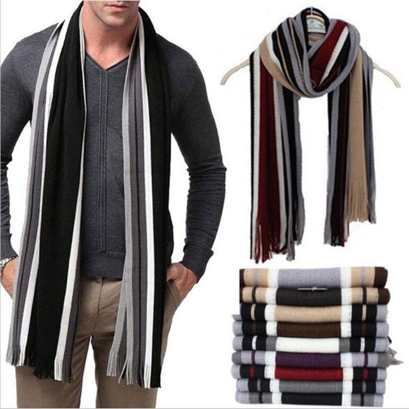 Winter Scarf Men Striped Cotton Male Shawl Wrap Knit Striped Scarf with Tassels