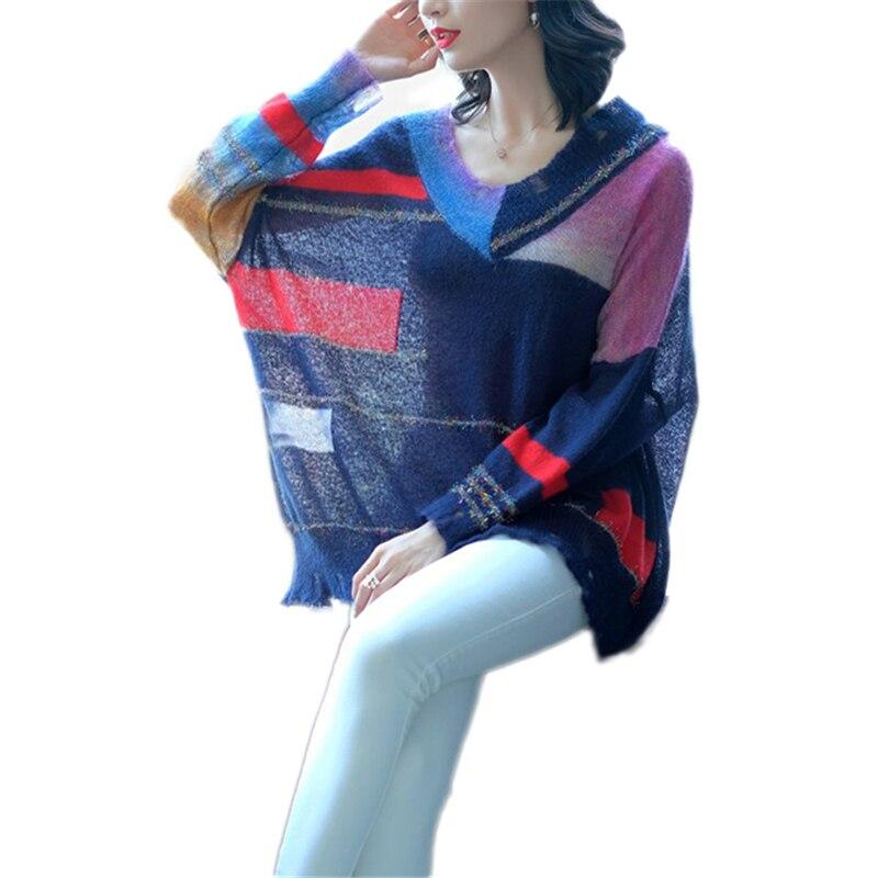 Vs434 V Long tricot Femmes Printemps À Manches Grande Automne Laine En Pull Femelle 2019 cou Couleur Nouveau Mode Taille Correspondant Navy rCdxoBe