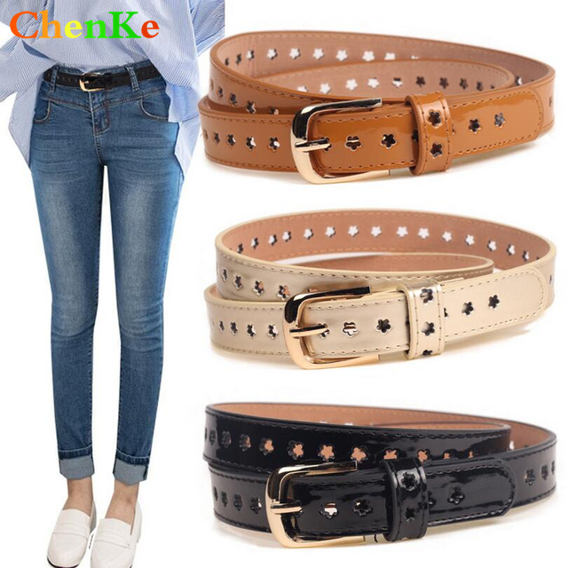 Chenke New Women Fashion Fine Pu Leather Belt Woman Casual Jeans