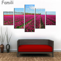 5pcs Print poster canvas Wall Art pink Flowers Decoration art oil painting Modular pictures on the wall sitting room(no frame)