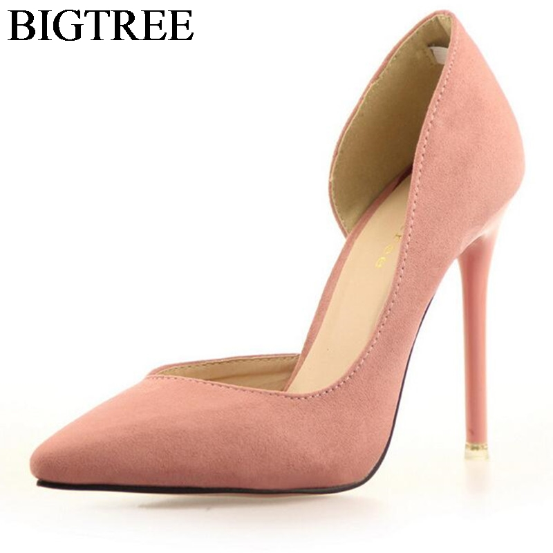 Women Classic Pumps Flock Suede High Heel Shoes Pointed Thin Heeled Sexy Elegant OL Office Shoes Single Women Heels Shoes Pink koovan women pumps 2017 pointed high heeled shoes pink pearls wild night clubs single buckle women s sandals ladies summer
