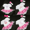 Easter Valentine's Day Baby White Bodysuit Hot Pink White Dots Pettiskirt & Headband Set NB-18Month MAJS0012