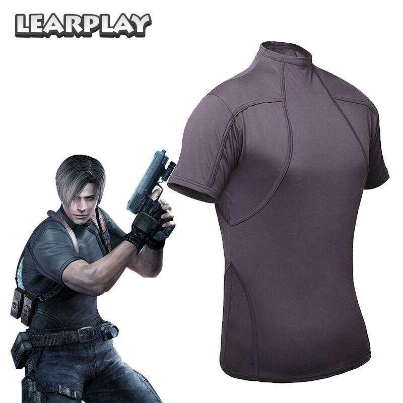 Resident Evil 4 Leon Kennedy T-Shirt Cosplay Costume Halloween Tee Shirt Top For Man