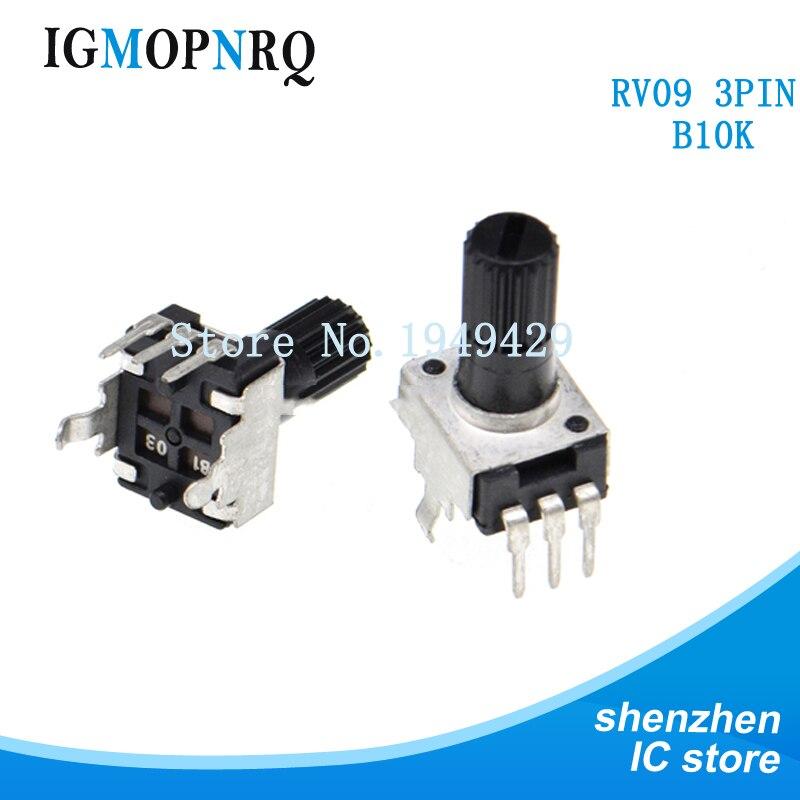 5PCS/LOT RV09 B10K B103 Potentiometer Adjustable Resistance 12.5mm Shaft 3 Pins 0932 Vertical Adjustable Trim Pot WH09