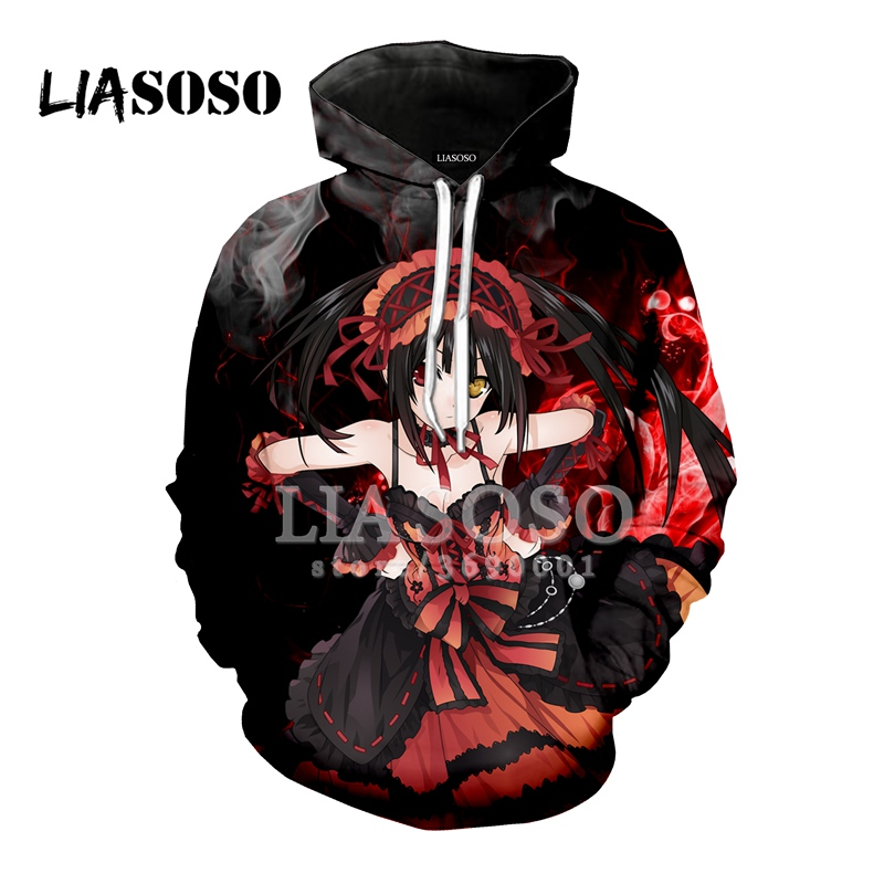 LIASOSO 2018 3D Print Women Men Hooded Hoodies Anime DATE A LIVE  Tokisaki Kurumi Sweatshirts Pullover Harajuku Hip Hop X0763
