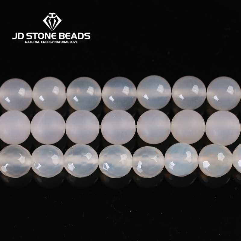 5A Matte Natural Gemstone Faceted White Agate Beads Handmade Necklace Beads Accessory Unique Design Beads For Jewelry Making