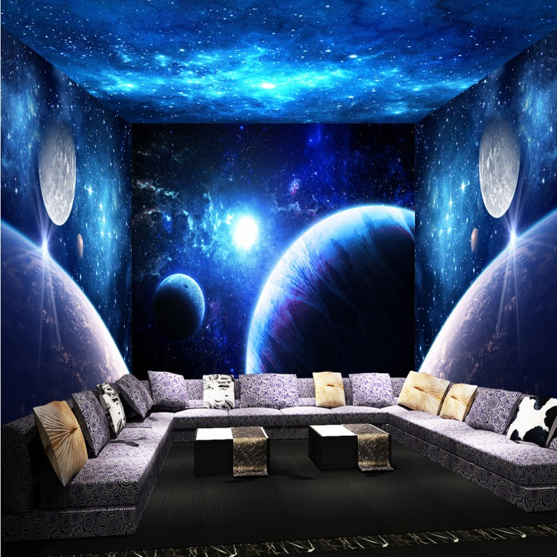 Popular space room theme buy cheap space room theme lots for Ceiling mural in a smoker s lounge