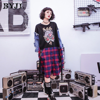 Harajuku Plus Size t shirt Women Stitching Hip Hop Printed denim Long Sleeve O Neck Long Tops Tee Streetwear SZ6283