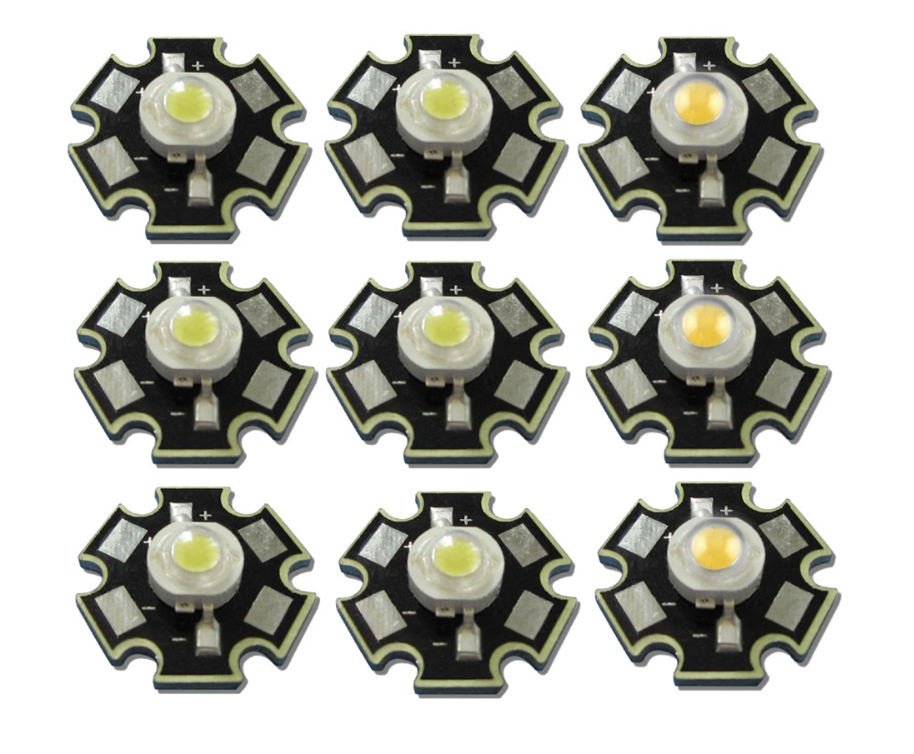 50pcs/lot High Power 1W 3W Cool / Warm White 3500K 6500K 10000K LED Bulb Chip Crystal Diodes Light With 20mm AL Star Base