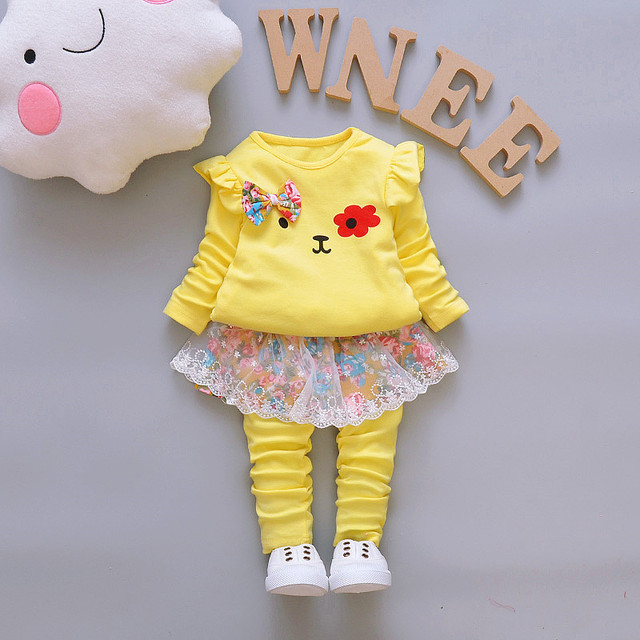 2-Pieces Cute Animal Bear Ribbon Long Sleeve Tops and Pants for Girls