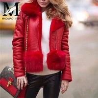 Женская зимняя Натуральная овечья кожа, куртка с натуральным лисьим меховым воротником, пальто, модная теплая из натуральной овчины кожана