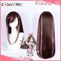 Женский парик для косплея Coshome Youtuber Kizuna AI, длинные коричневые и розовые волосы для вечевечерние НКИ на Хэллоуин