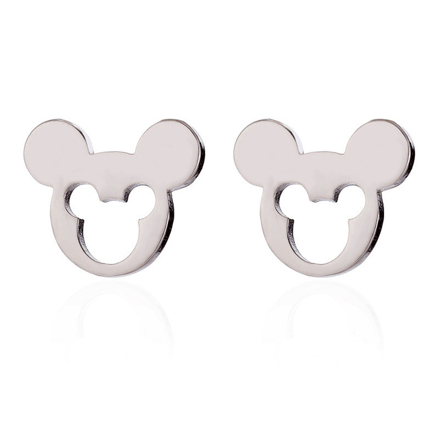 Octbyna Cartoon Mickey Minnie Stud Earrings Sparkling Zircon Anime Pan Earrings For Women Kids Girls Fashion Gifts Jewelry