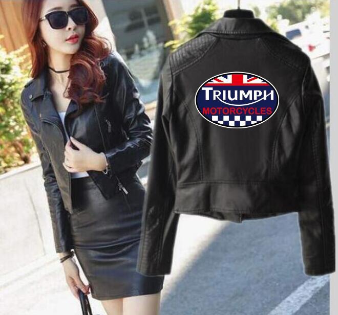 Nouveau vêtements Triumph motos veste courte en cuir punk en cuir locomotive veste à glissière femmes de hip hop streetwear