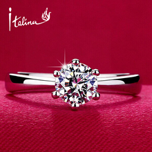 GH620 Italina brand Classic design 1carat 6mm simulated diamond wedding rings for women,18K Gold Plated, Mix $10 Free shipping
