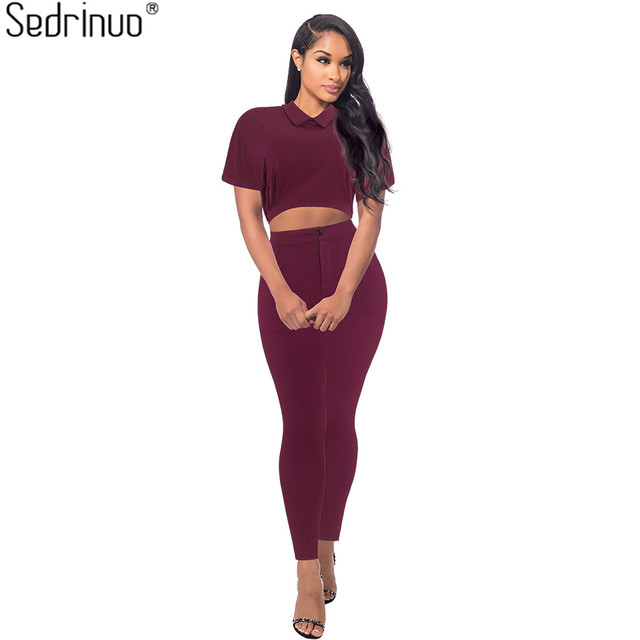 Sedrinuo Elegant Women Rompers Jumpsuit 2017 New Fall Fashion Two pieces outfits Bodysuits Short Sleeve Sexy Jumpsuit For Women