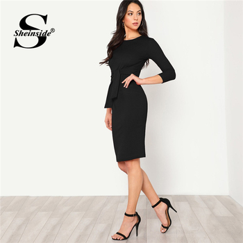 Sheinside Black Elegant Bodycon Women Dress