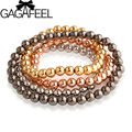 GAGAFEEL New Fashion Girl's Bracelet Bangle High Quality  Gold Plated 6MM Beads Bracelet free shipping