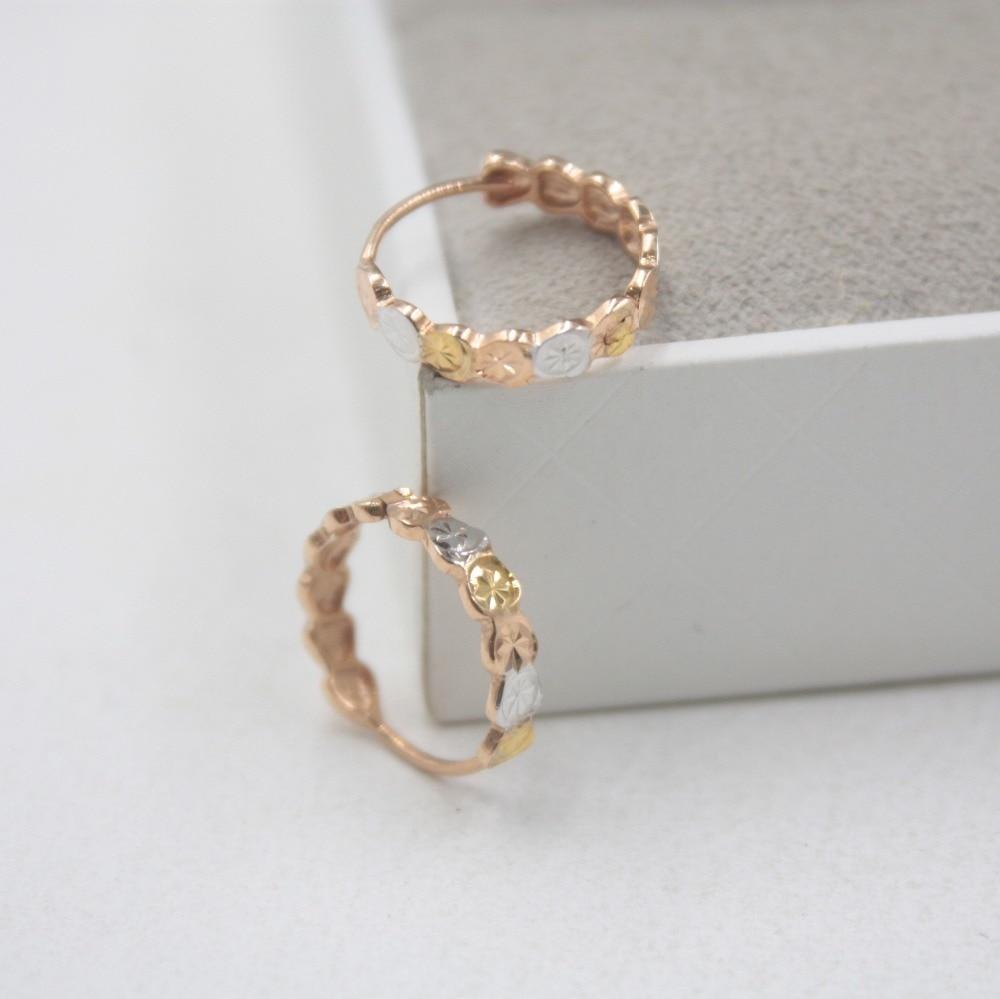 Pur 18 K multi-tons or mode petites boucles d'oreilles personnalisé demoiselles d'honneur cadeau mignon boucles d'oreilles cerceau 1.6-1.8g bijoux de tous les jours