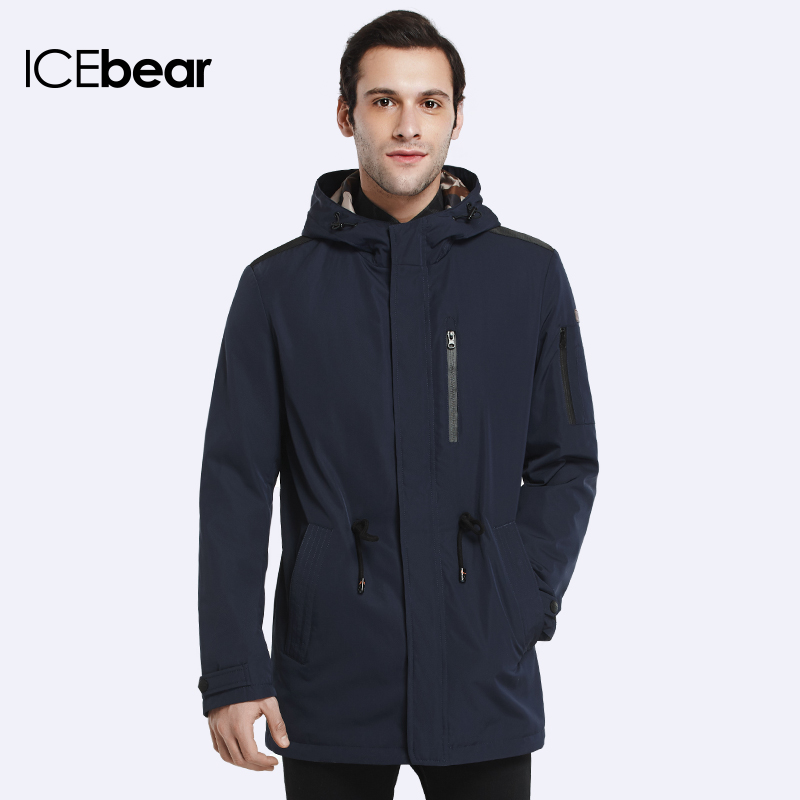 ICEbear 2018 Trench Coat For Men Spring Autumn Coat New Brand Casual Medium Long Brand Coats 17MC017D