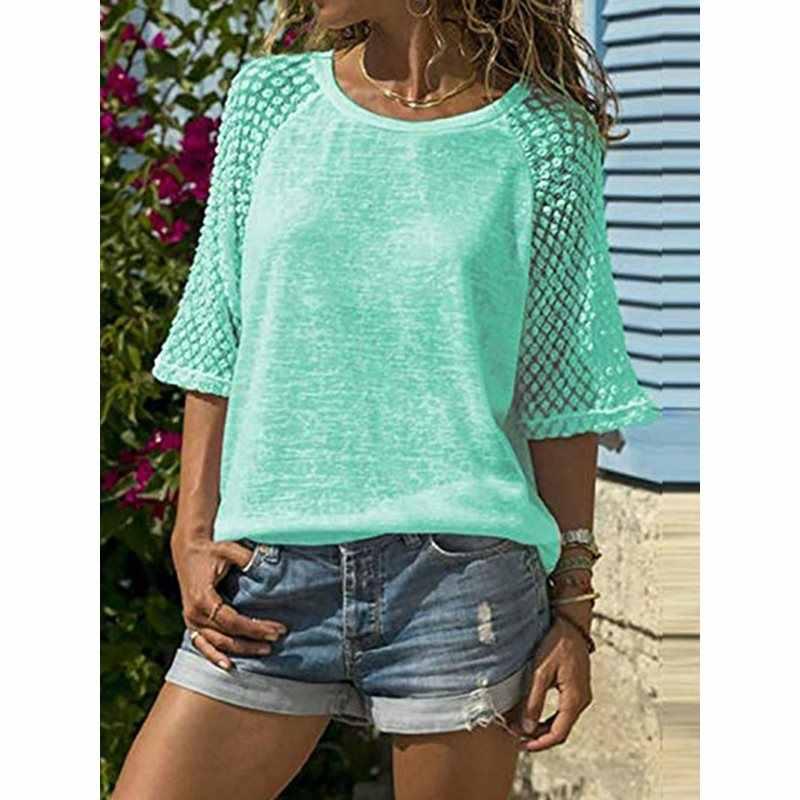 Summer White Tshirt Women Boho Mesh Top Sexy Fashion Sweet Plus Size Tee Shirts Simple Thin Beach Casual Loose T Shirt Female