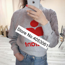 Sweatshirt Letter Fashion Contrast Round-Neck Pullover-Fall/winter Women/ladies Front