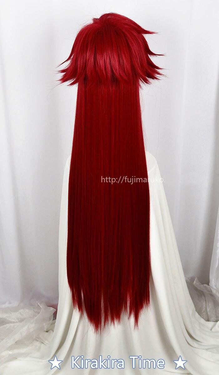 Image 4 - Kuroshitsuji Black Butler Grell Sutcliff Red Long Straight Heat Resistant Hair Cosplay Costume Wig + Skull Chain GlassesAnime Costumes   -