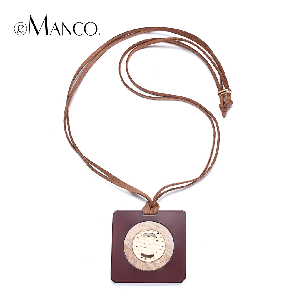 eManco square acrylic pendant necklace concise geometric coffee adjustable rope long necklaces for women collar mujer NL13633 Ожерелье