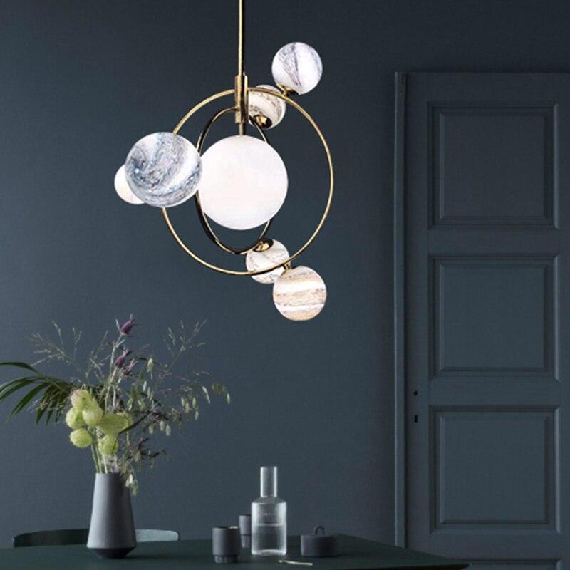 Modern glass ball celestial body pendant light creative LED art deco hanging lamp fixture for bedroom Cafe restaurant lamp E27 in Pendant Lights from Lights Lighting