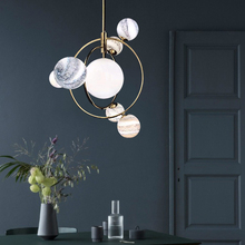 Modern glass ball celestial body pendant light creative LED art deco hanging lamp fixture for bedroom Cafe restaurant lamp E27 недорого