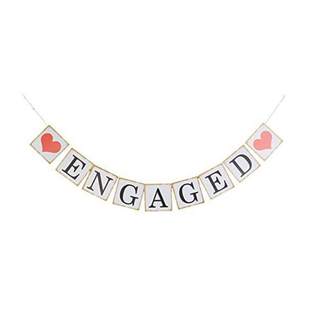 HAOCHU 3 Meters ENGAGED Banner String Vintage White Letters Gold ...