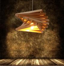 Vintage American style Triangle Frame loft LED pendant light Oak Wood Retro lamp E27 AC 110/220V Cord Hanging light fixture