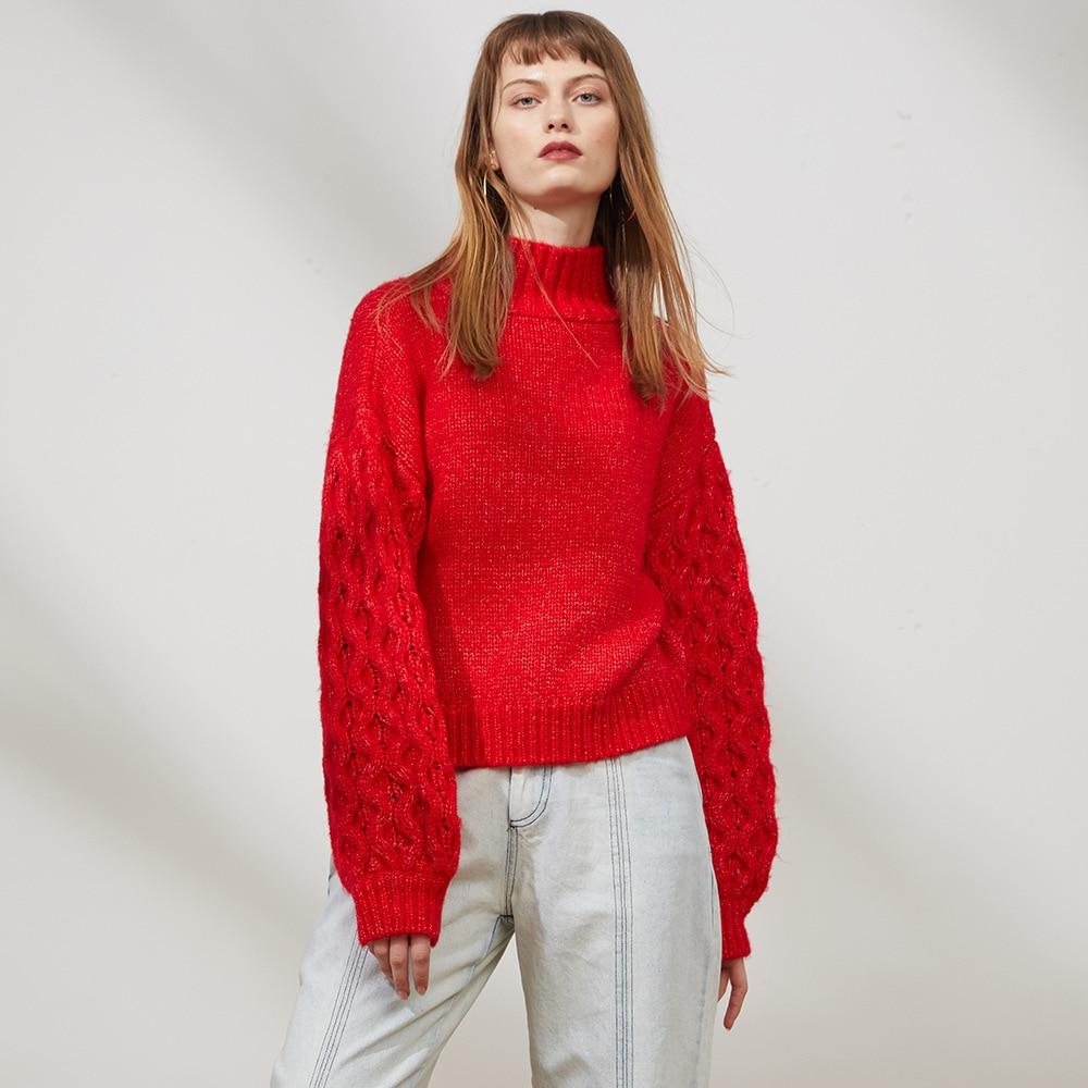 Marée Et Col Noeud Dames Marque Automne Tricot Couture En 2018 Femmes D'hiver Fleur Chandail Lâche Haut Femelle Rouge Nouvelle Harajuku nAqw14gx