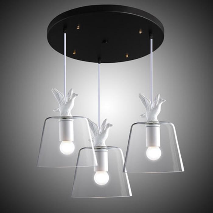 Modern Brief Fashion Retro Loft Country Creative White Resin Duck Glass Edison Pendant Lamp Study Restaurant Home Decor Lighting