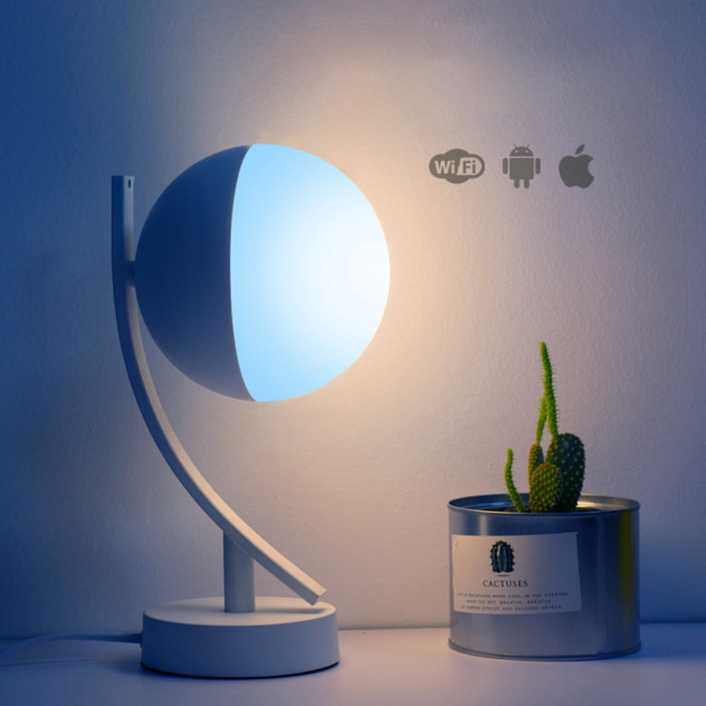 Remote Voice Control Round Multiple RGB Dimmable Bedroom Bedside LED Moon Night Light Eye Protection Desk WIFI Smart Table Lamp