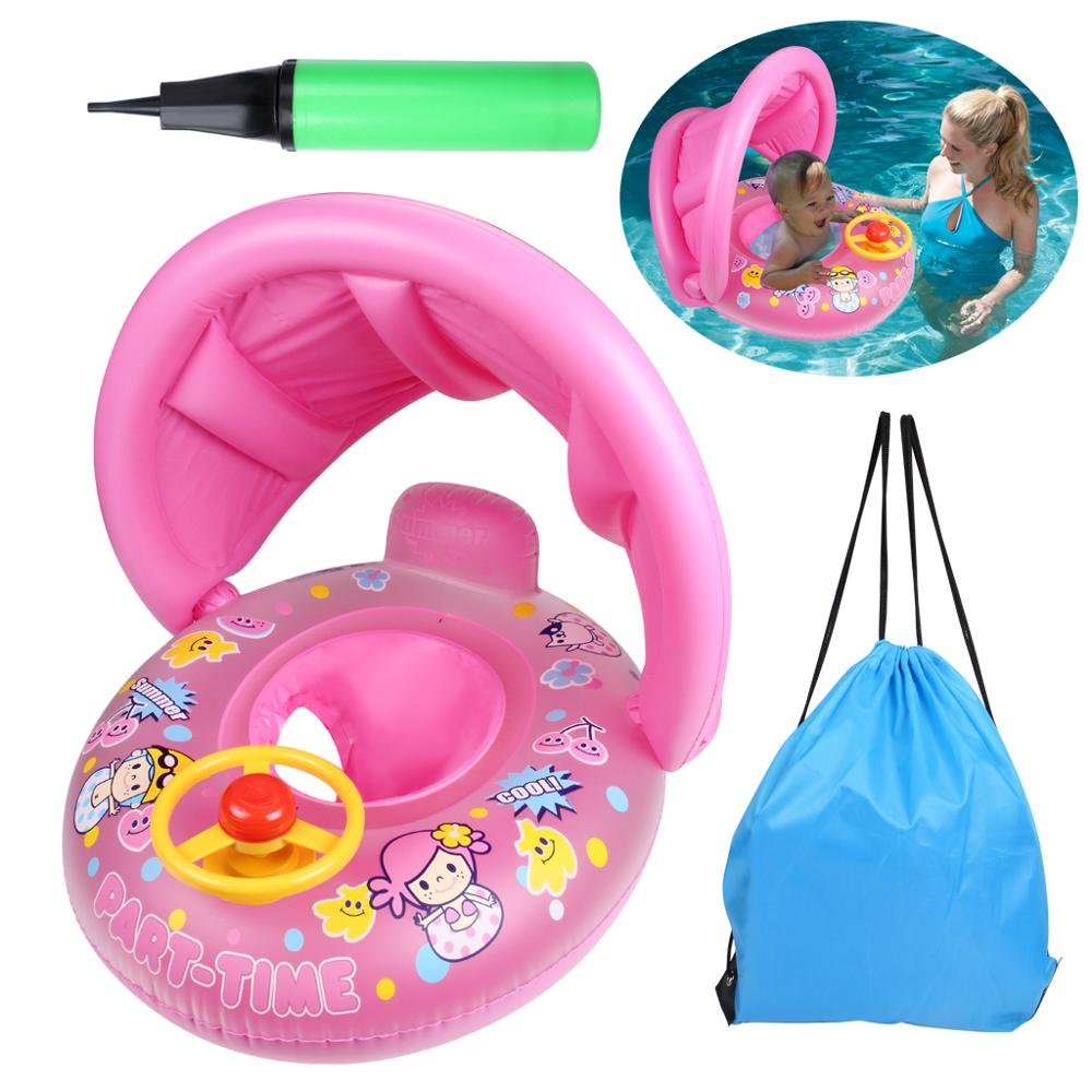 1 Set Inflatable Baby Swimming Pool Seat Float Boat with Removeable Sunshade Summer Water Have Fun Tool Swim Circle