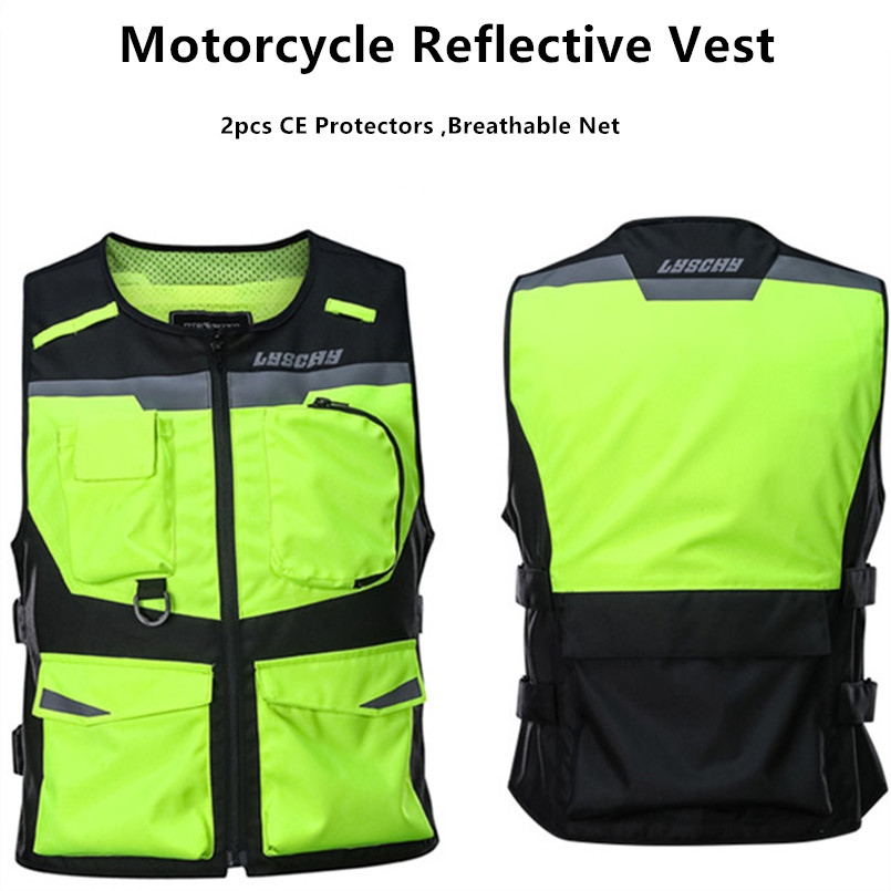 Motorcycle Vest Giubbotto Moto Donna Mens Chaleco Moto Vintage Green Black For Riding Tribe Summer Reflective