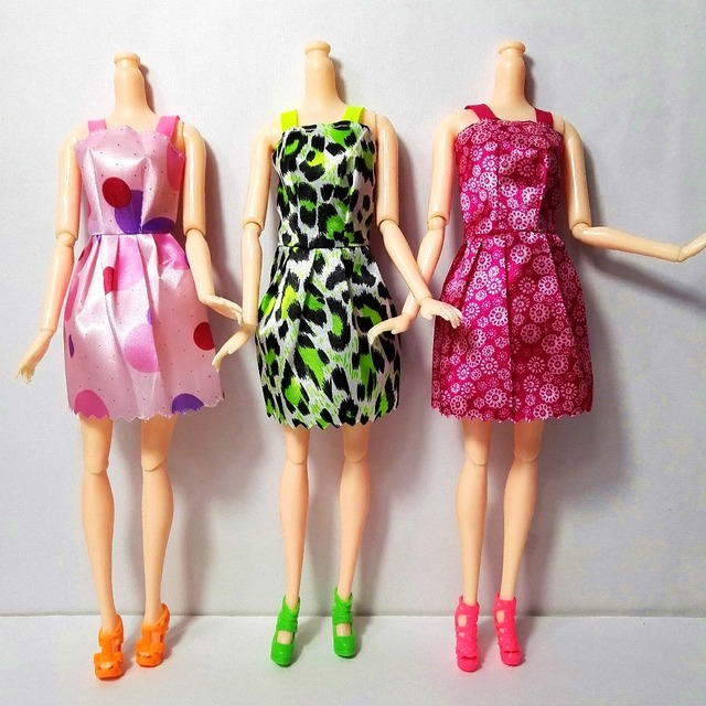 2016 Beautiful 14 PCS/set Handmade Party Clothes Fashion Dress for Barbie Doll Mixed style Dress
