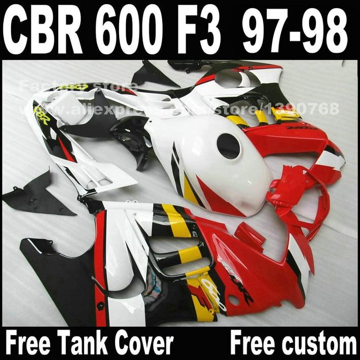 Custom free Motorcycle parts for HONDA CBR 600 F3 road racing fairings 1997 1998 CBR600 F3 97 98 red white fairing kit  S9 motorcycle parts for honda cbr 600 f3 fairings 1997 1998 cbr600 f3 97 98 brown white fairing kit w9 page 1