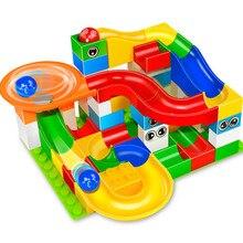 Marble Race Run Maze Ball Track Building Blocks Sets Plastic Funnel Slide LegoINGLs Duplo Bricks Educational Toys for Children funlock duplo marble run plastic slide 43p blocks crystal snowice building toys for children