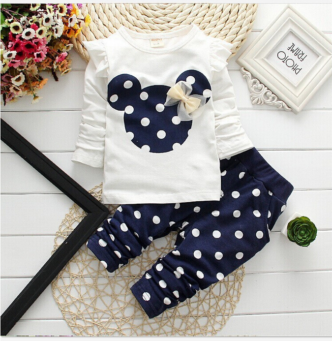 Girls clothing sets Mickey Children Clothes Set Cotton Bow Tops T shirt Leggings Pants Baby Kids 2 Pcs Suit Costume For 0-4 Year стоимость