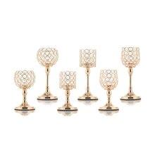 עמוד זכוכית Tealight פמוטים קריסטל פמוטים שולחן מעמדי חתונת קישוט לבית חנוכת בית מתנה